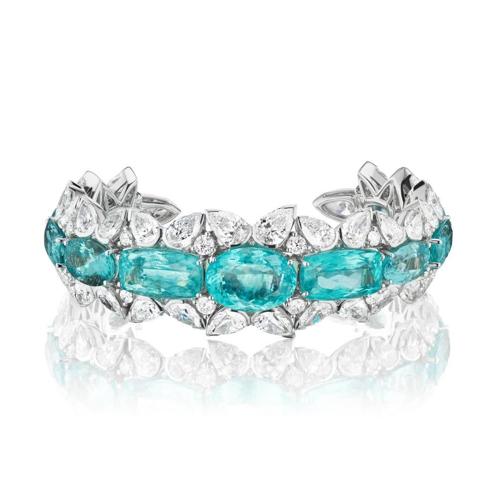 Beautiful Mozambique Paraiba and Diamond Cuff Bracelet